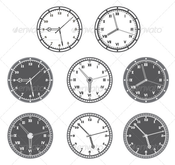 Hours Set in Black and White - Decorative Vectors