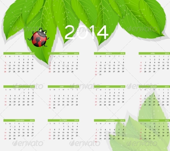 2014 New Year Nature Calendar - Christmas Seasons/Holidays