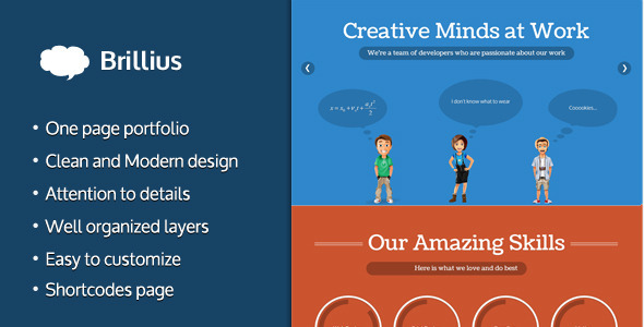 Brillius – Creative One Page PSD template