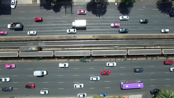 Aerial Top View of a Highway With Traffic