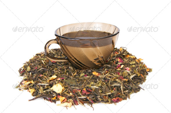 Cup of tea on a white - Stock Photo - Images