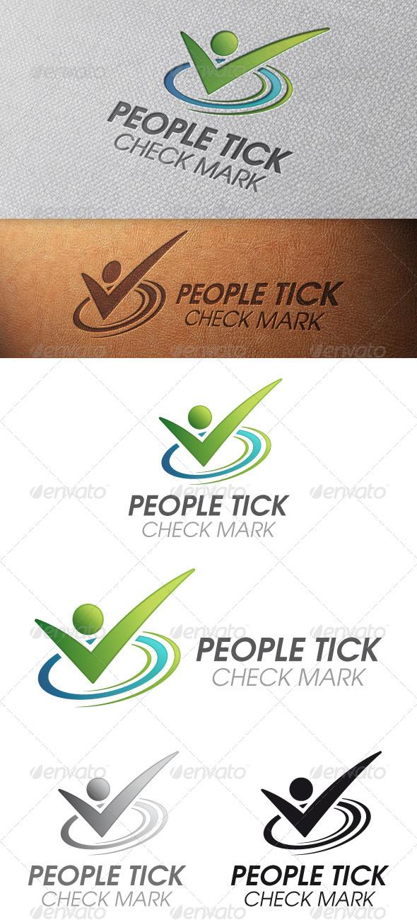 People Tick Check Mark Logo Template - Humans Logo Templates