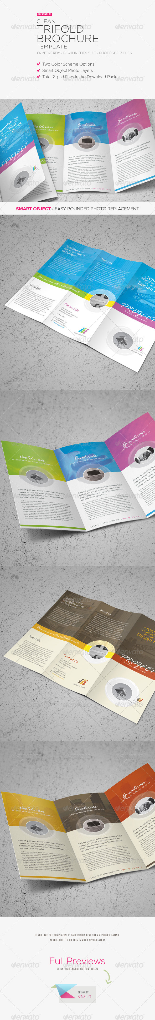 Clean Trifold Brochure Template - Corporate Brochures