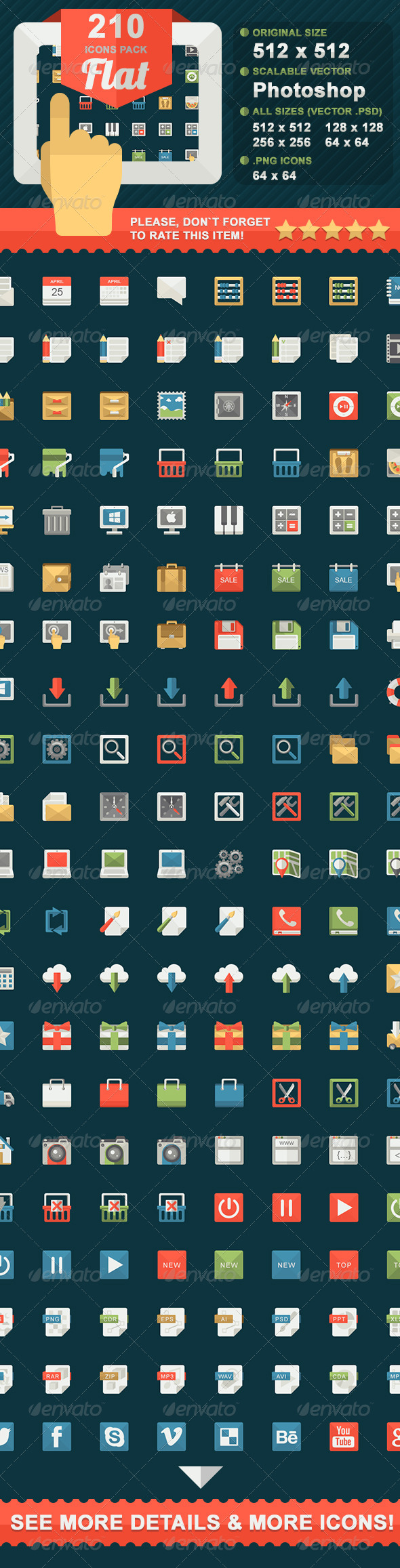 210 Flat icons pack - Icons