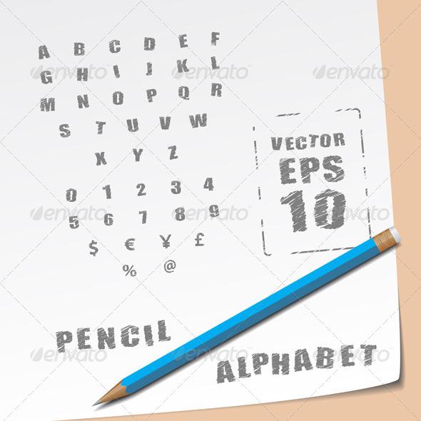Pencil Alphabet - Web Elements Vectors