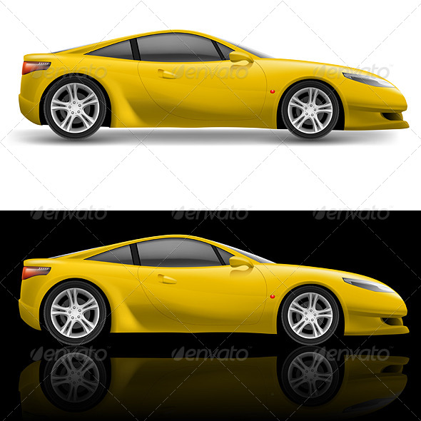 Yellow Sport Car - Man-made Objects Objects