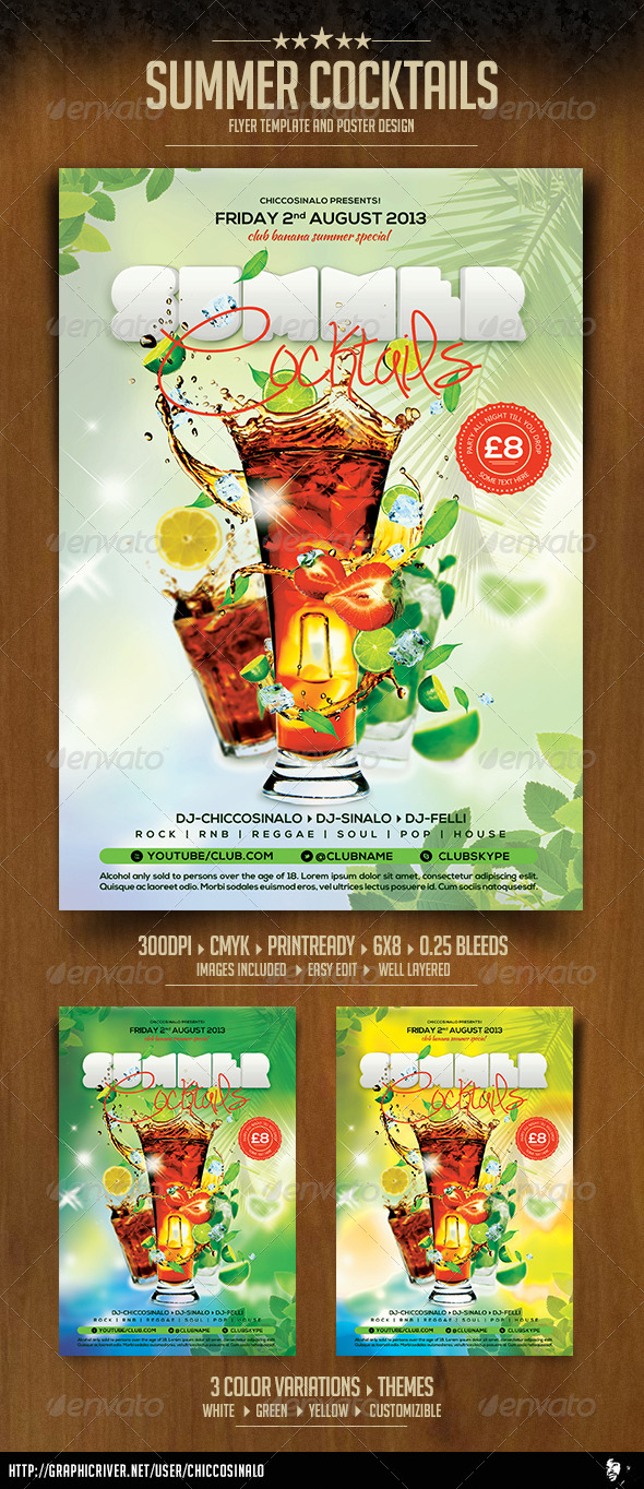 Summer Cocktails Flyer Template - Clubs & Parties Events
