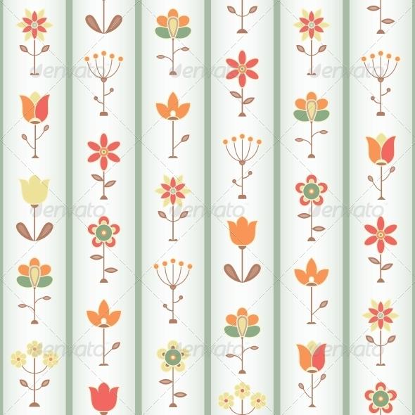 Retro Flower Seamless - Patterns Decorative