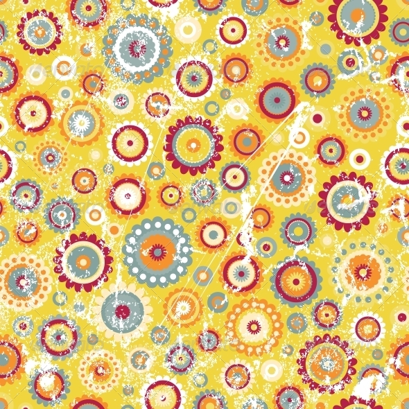 Seamless Floral Background in Grunge Style - Patterns Decorative