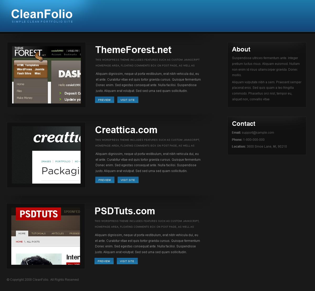 Free Download CleanFolio Dark Nulled Latest Version