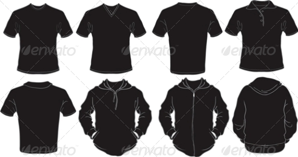 Male Black Shirts Template - Man-made Objects Objects