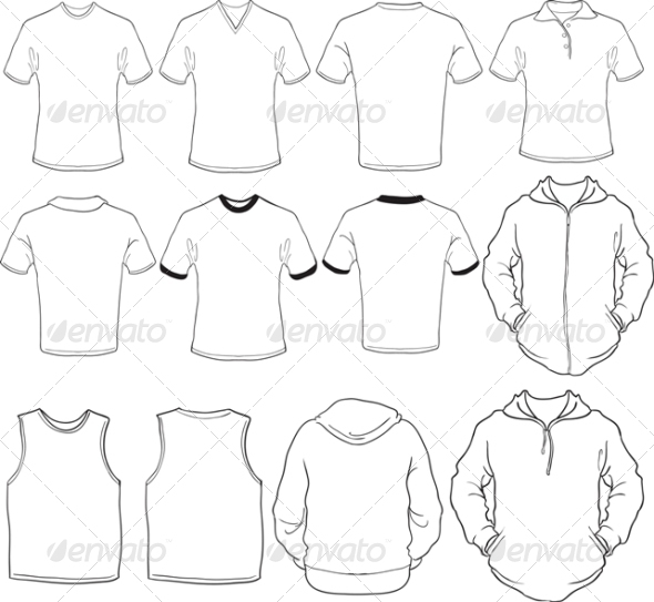 Male Blank Shirts Template - Man-made Objects Objects