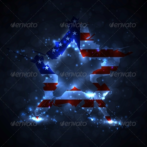 The Abstract Star with American Flag - Abstract Conceptual