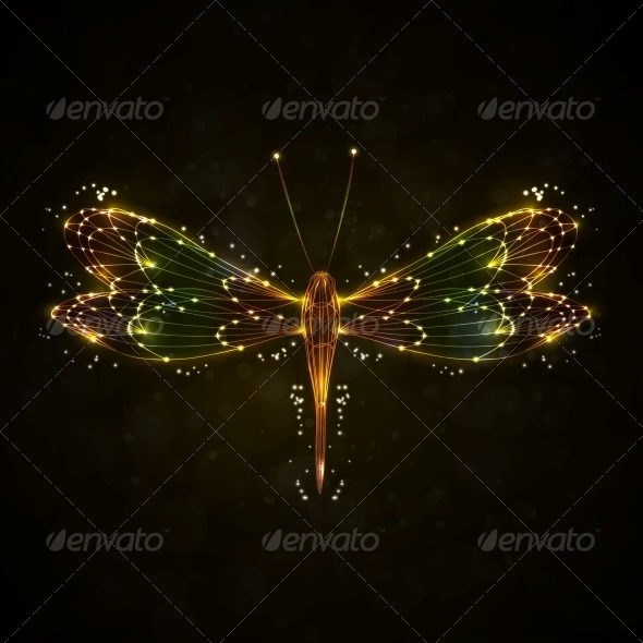 Shiny Abstract Dragonfly - Animals Characters