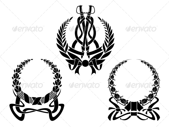 Coats of Arms with Embellishments - Decorative Symbols Decorative