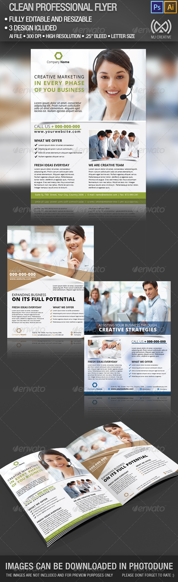 Clean Professional Flyer Set - Corporate Flyers