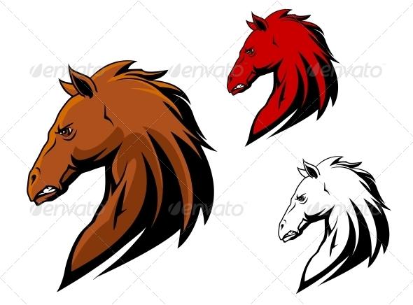Angry Stallion Mascot - Animals Characters