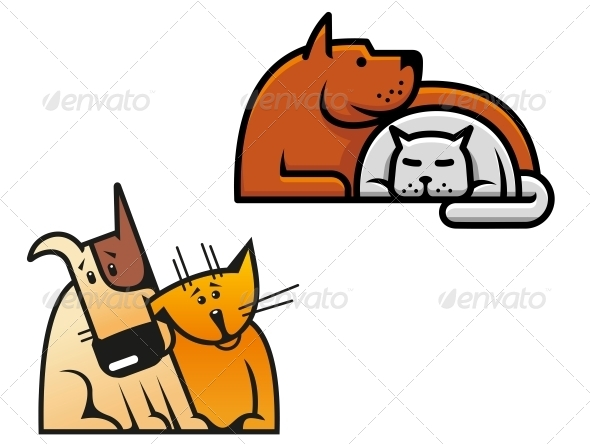 Friendship of Dog and Cat - Animals Characters