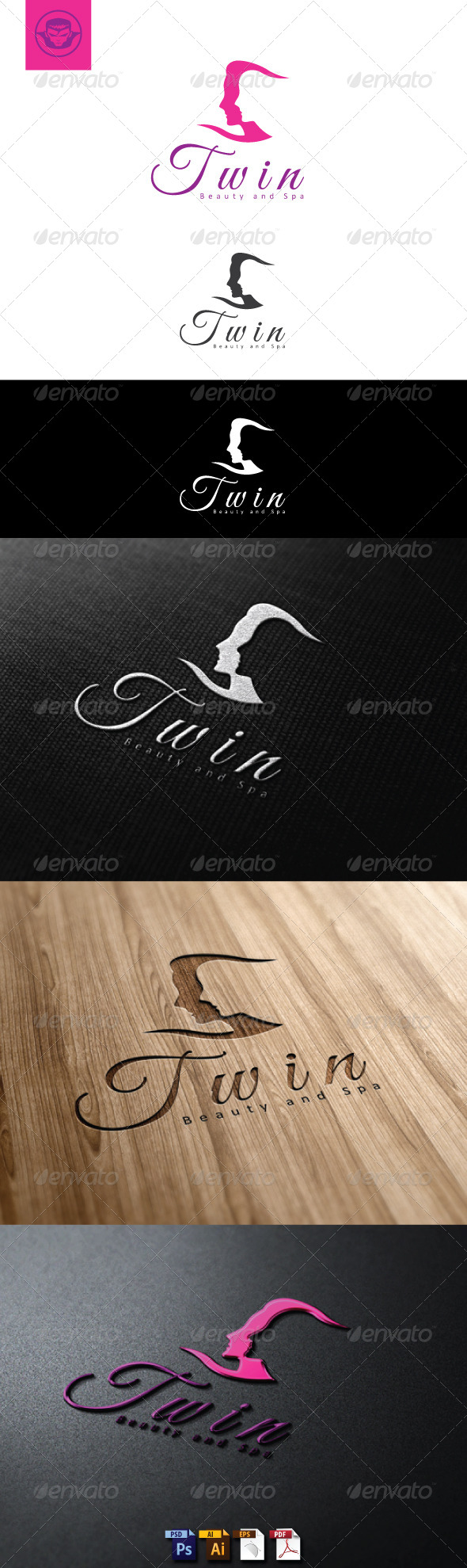 Twin Beauty and Spa Logo Template - Humans Logo Templates