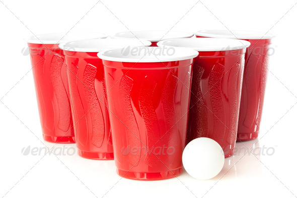Red Beer Pong Cups - Stock Photo - Images