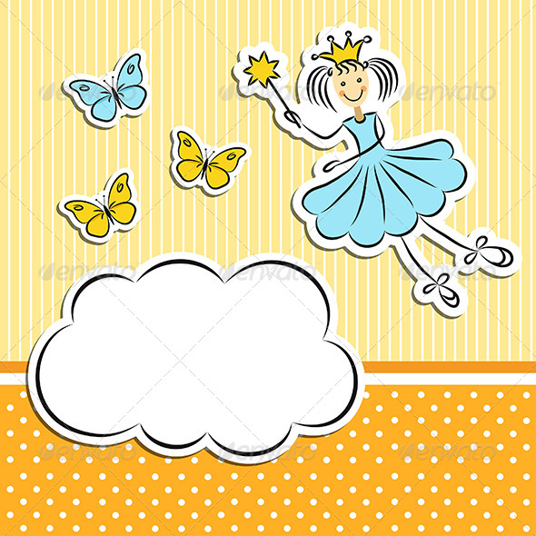 Fairy Princess with Paper Cloud and Butterflies - Seasons/Holidays Conceptual