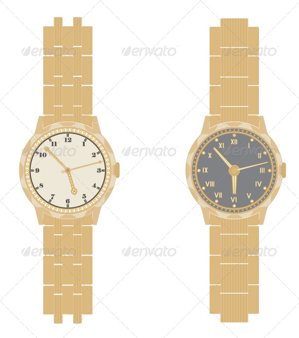 Gold Watch and Bracelet on a White Background. - Objects Vectors