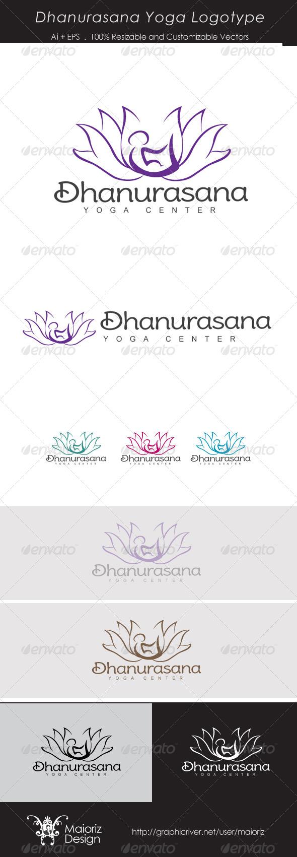 Dhanurasana Yoga Logo - Humans Logo Templates