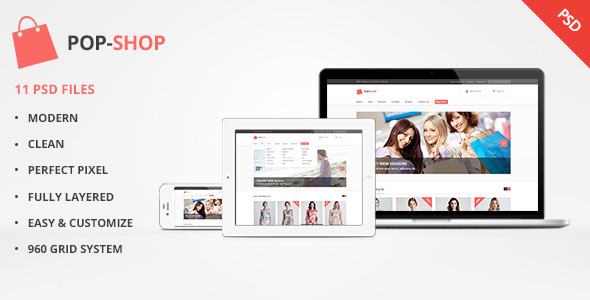 Popshop – Retail, Shopping, eCommerce PSD