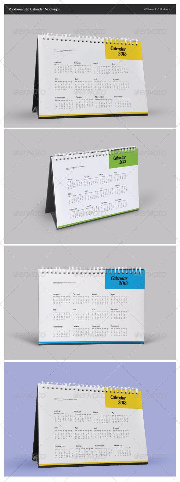 Photorealistic Calendar Mock-Ups - Miscellaneous Print
