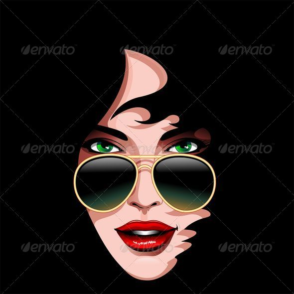 Girl's Portrait with Sunglasses - People Characters