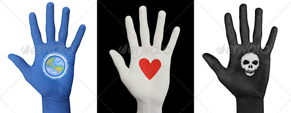 Painted Hands - Earth. Heart, Skull (3-Pack) - Miscellaneous Isolated Objects