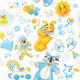 Seamless Pattern of Baby Boy Stuff  - GraphicRiver Item for Sale