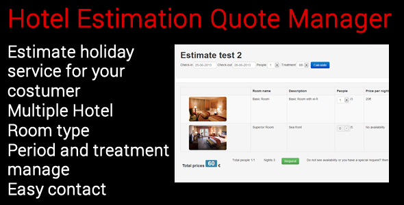 Hotel Estimation Quote Manager - CodeCanyon Item for Sale