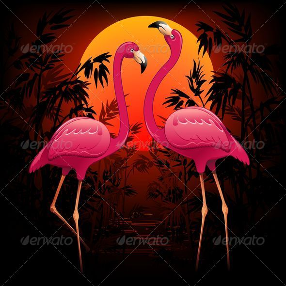 Pink Flamingos on Tropical Sunset - Animals Characters