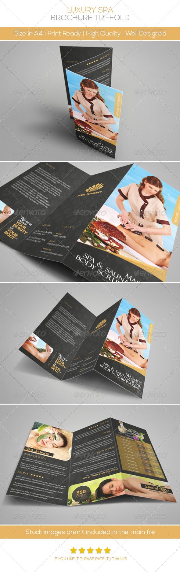 luxury brochure template - luxury spa brochure tri fold by hoanggiang12 graphicriver