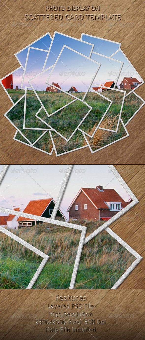 Photo Display on Scattered Card Template - Photo Templates Graphics