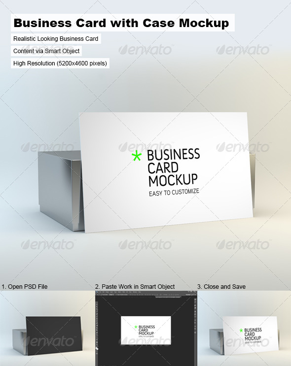 Business Card with Case Mock-Up - Business Cards Print