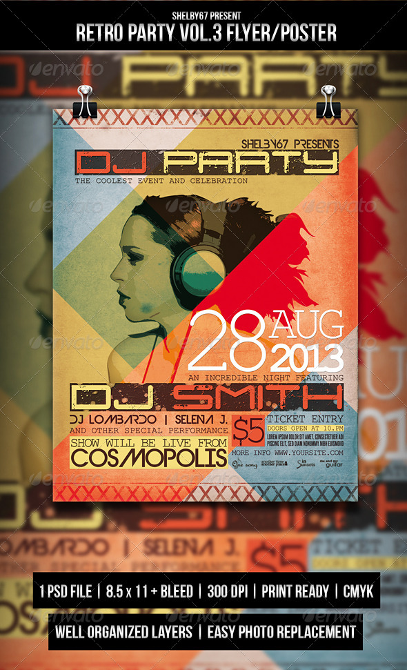 Retro Party Flyer / Poster Vol.3 - Events Flyers
