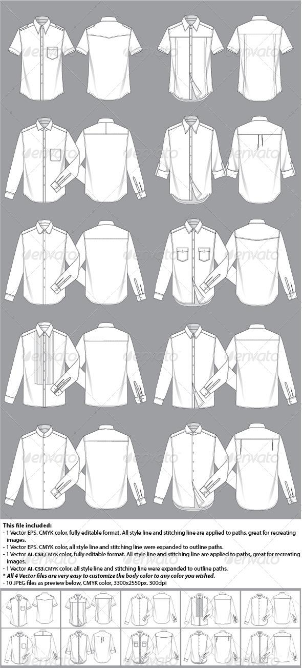 Mens Shirt Template - Vectors
