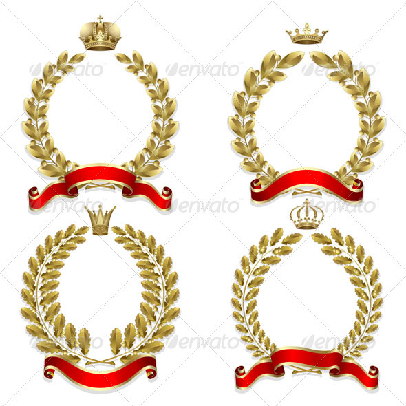 Set from Gold Laurel and Oak Wreath - Patterns Decorative