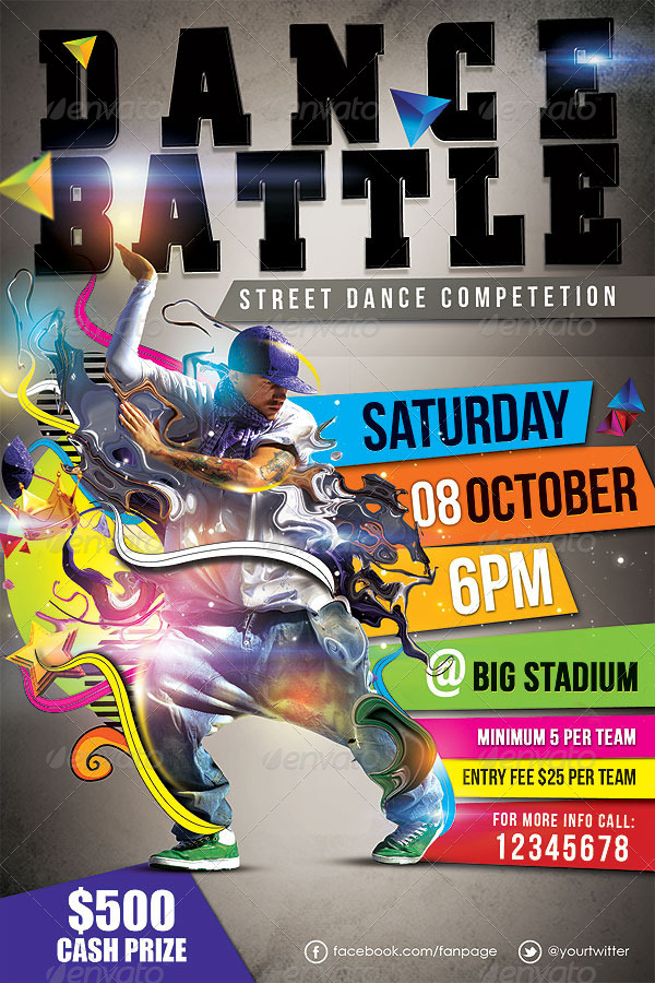 Dance Battle Flyer Template Vol02 by hermz – Competition Flyer Template