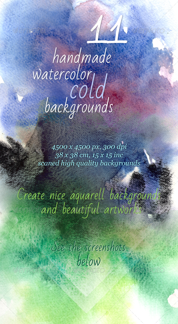 11 Handmade Cold Watercolor Backgrounds - Backgrounds Graphics