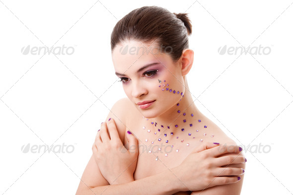 Beautiful woman with purple makeup - Stock Photo - Images