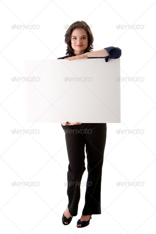 Young business woman with white board - Stock Photo - Images