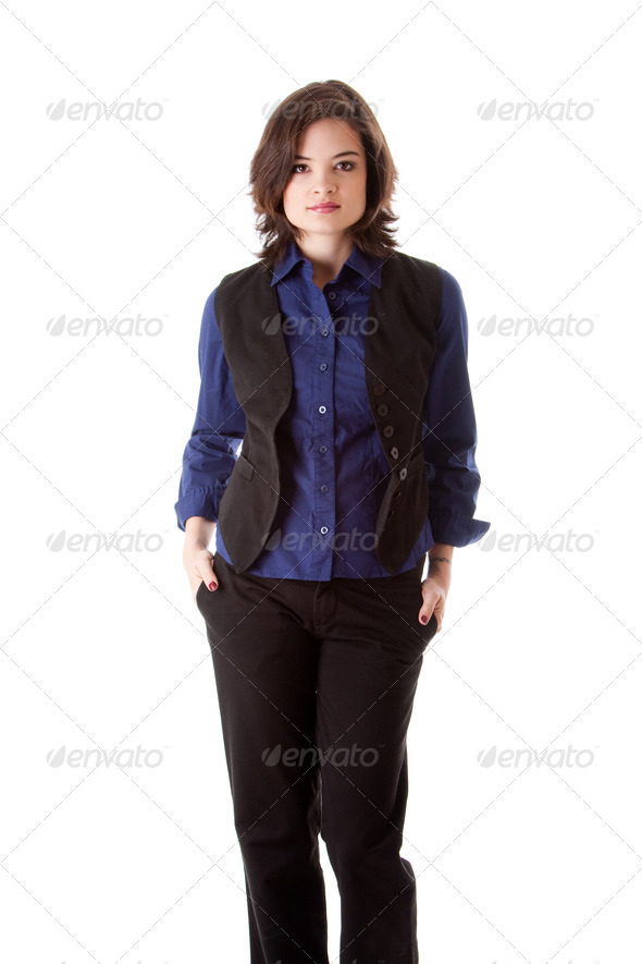 Young business woman standing - Stock Photo - Images