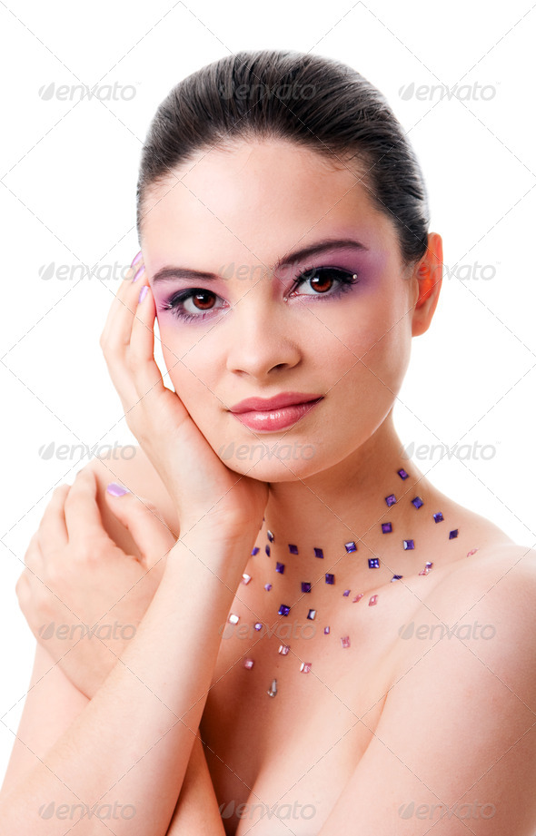Fashion face with purple makeup gems - Stock Photo - Images