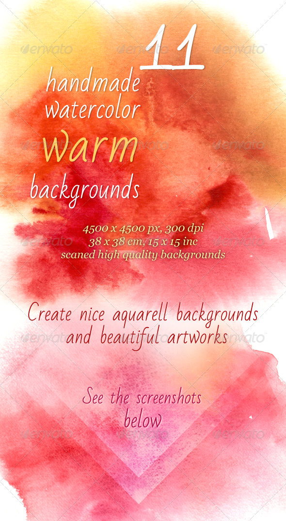 11 Handmade Warm Watercolor Backgrounds - Backgrounds Graphics
