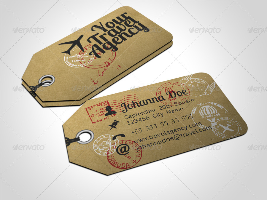 Travel Tag Business Card Template by freshinkstain | GraphicRiver