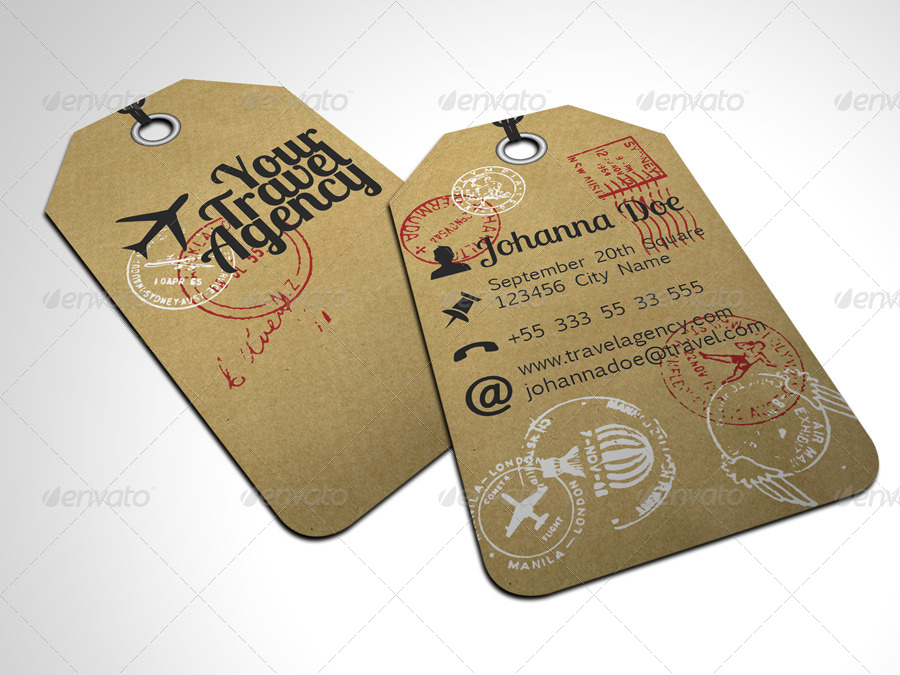 Travel Tag Business Card Template By Freshinkstain GraphicRiver - Travel name tag template