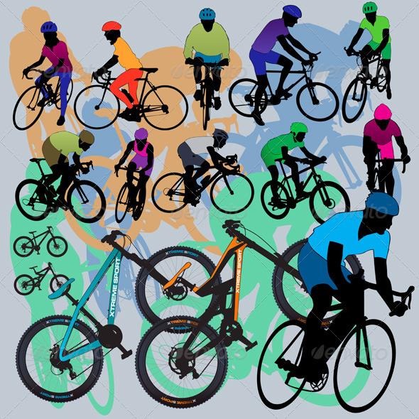 Mountain Bikes Set - Sports/Activity Conceptual